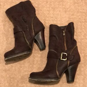 Brown Cathy Jean boot with zippers & ankle buckle